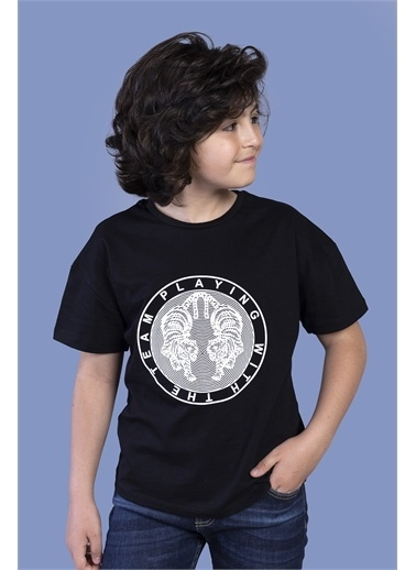 Toontoy Kids Toontoy Erkek Çocuk Kabartma Baskılı Tişört Siyah